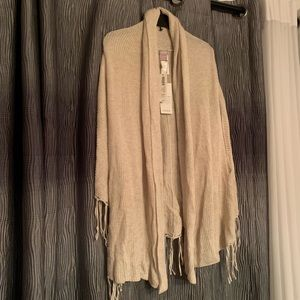 Chico's knit off white tan knit shawl vest scarf
